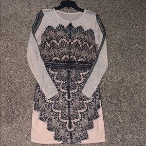 Nude lace long sleeve dress